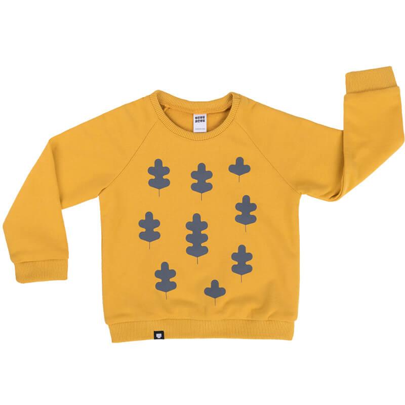 """Детска блуза в цвят горчица """"Есенни листа"""". Топла дрешка за студените дни. Подходяща за момчета и момичета."""