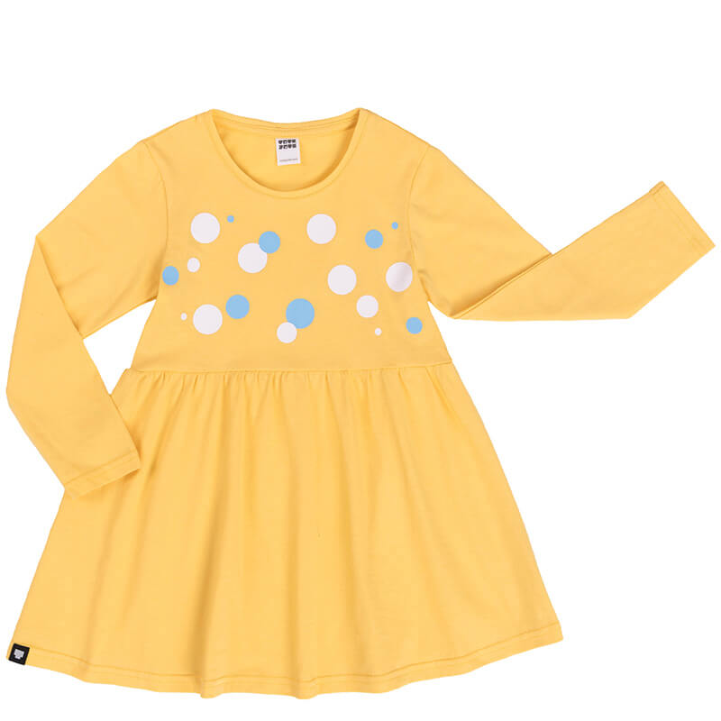Детска рокля Балончета. Роклята е с дълги ръкави и принтирани цветни балончета отпред.
