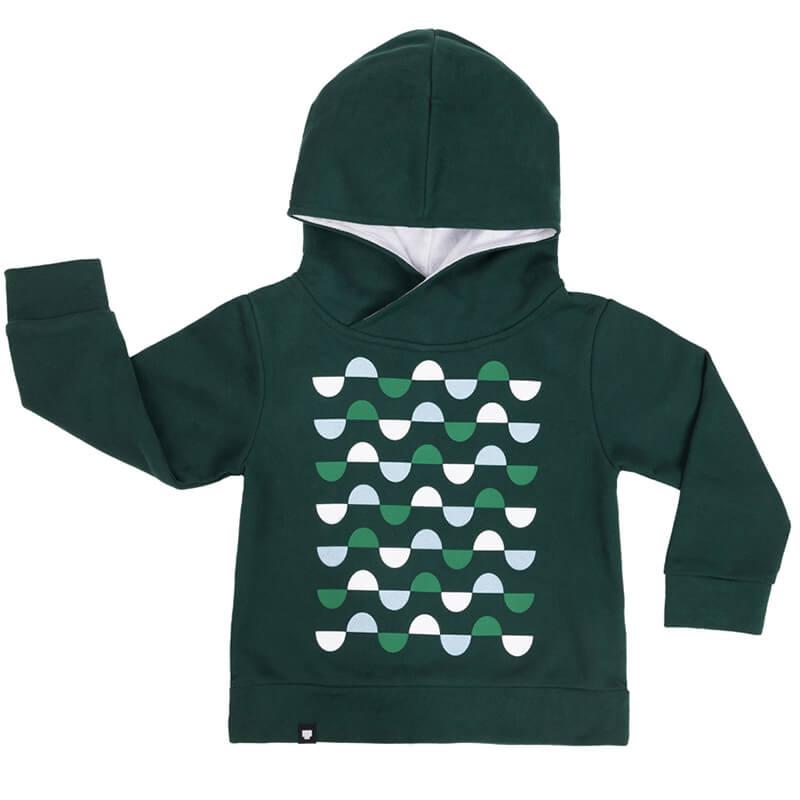 """Детски суитшърт в зелен цвят """"Хълмчета"""". Топла дрешка за момчета и момичета от памучен плат."""