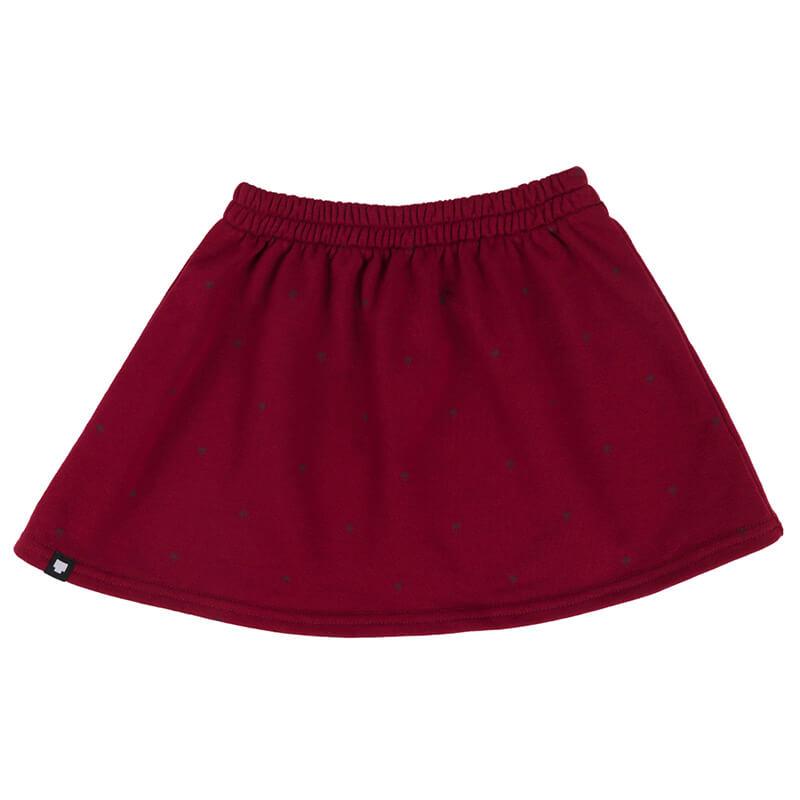 """Червена детска пола """"Палми"""". Удобна пола за всички сезони с кройка клош и принтирани малки палми по плата."""