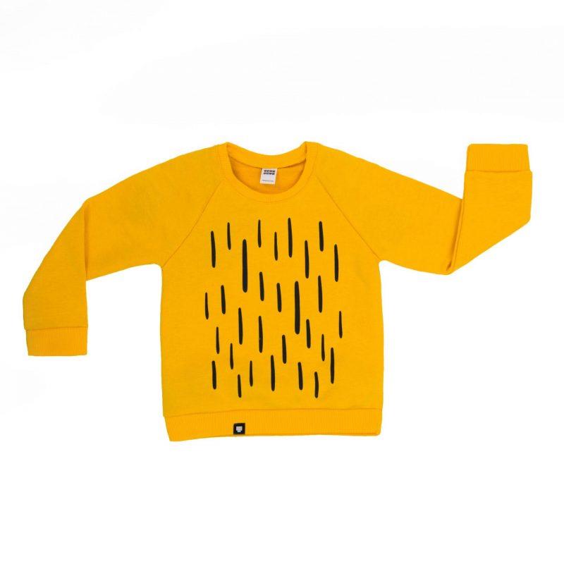 """Детска блузка """"Царят на джунглата"""" е памучна блуза в жълт цвят с дълги ръкави и атрактивна щампа."""