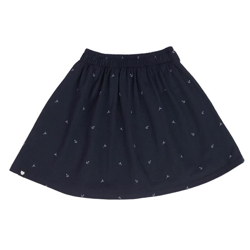 """Детска лятна пола """"Котвички"""" е в тъмносиньо и щамповани котвички. Памучна материя и удобна кройка (модел клош)."""