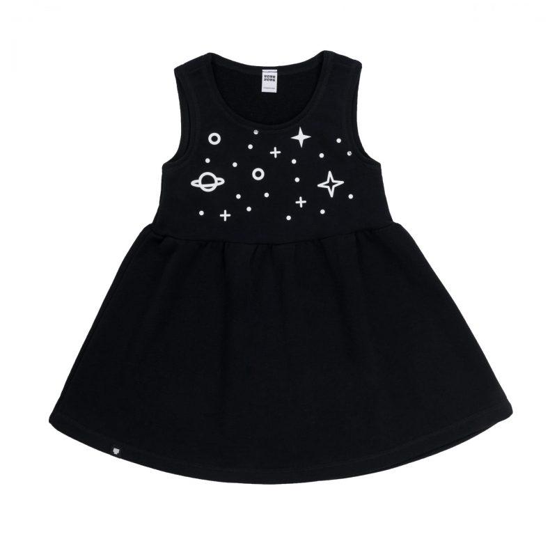 """Детска рокля """"Космос"""" е без ръкави и е изработена от 100% памучна вата - за топло и студено време."""