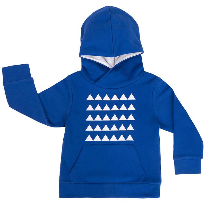 """Детски суитшърт в синьо """"Бели върхове"""" е връхна зимна дрешка с качулка и преден общ джоб."""